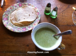 Amazing Asparagus Soup with corn tortillas on the side