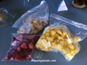 Frozen fruit in freezer bags